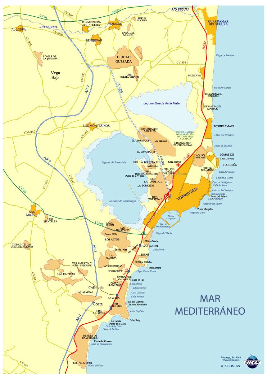 kart over torrevieja spania Kart   Torrevieja   Orihuela Costa   Map kart over torrevieja spania